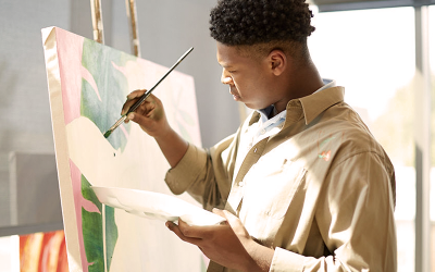 Upper School Academy student painting