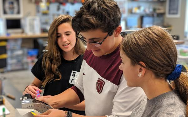 Academy upper school students work in a specialized Makerspace