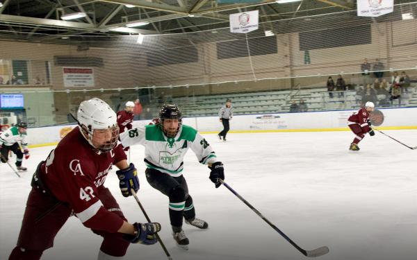 Academy's varsity ice hockey team during a game