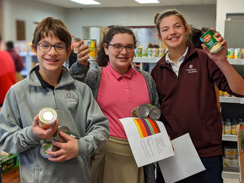 Academy students take part in the Kids 4 Kids food and clothing drive in support of The Childhood League Center