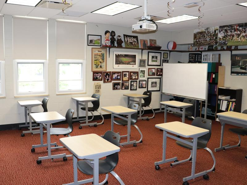 Adjusted classroom layout to allow for social distancing